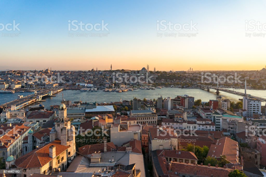 View from above on old historic districts of Istanbul, Turkey stock photo