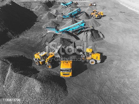 istock View from above, on the process of sorting coal mined. Open pit mine, Mining coal extractive industry anthracite. 1130873706
