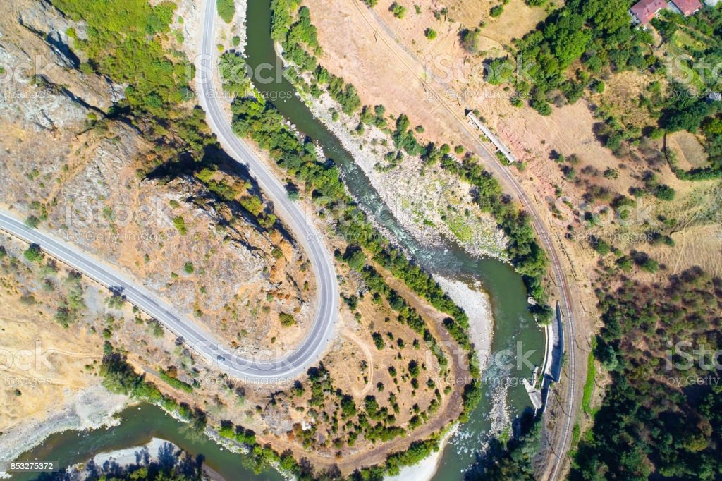 View from above on the river and the road of Georgia. stock photo