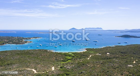 1066331604istockphoto View from above, stunning aerial view of a beautiful green coast bathed by a turquoise sea with some boats and yachts. Costa Smeralda (Emerald Coast) Sardinia, Italy. 1161700459