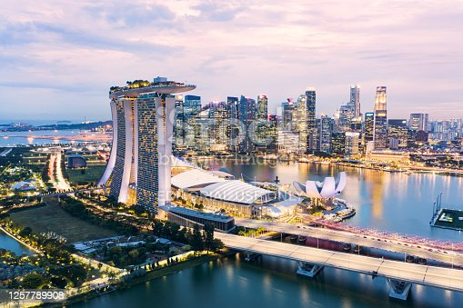 Singapore, July 18, 2020. Aerial view of the skyline of Singapore during a beautiful sunset with the financial district in the distance. Singapore is a sovereign island in Southeast Asia.