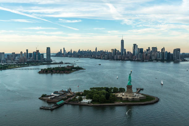 View from above to Manhattan city centre Financial district and Statue of Liberty liberty island stock pictures, royalty-free photos & images