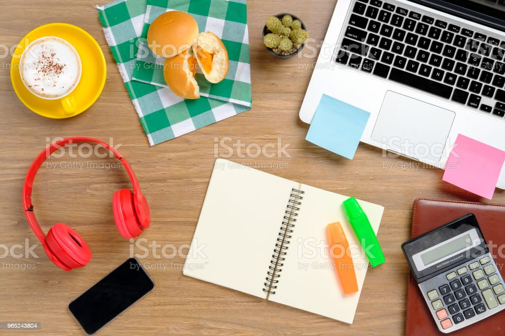 View from above.Office desk table royalty-free stock photo