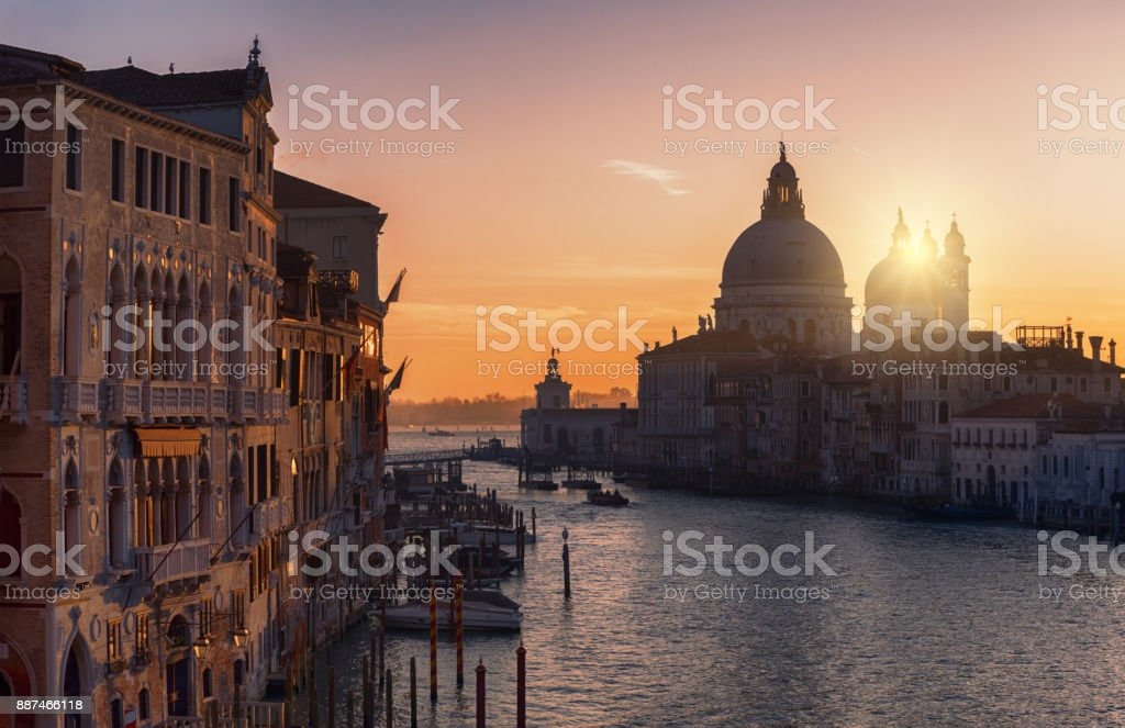 View From Accademia Bridge, Grand Canal and the Church of Santa Maria Della Salute in Venice, Italy stock photo
