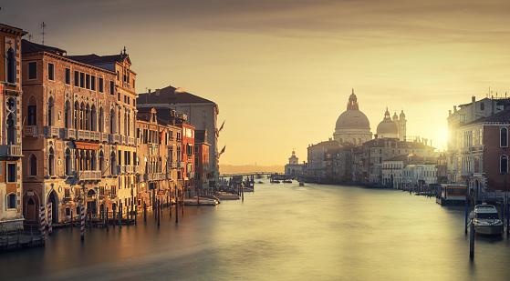 View From Accademia Bridge, Grand Canal and the Church of Santa Maria Della Salute in Venice, Italy
