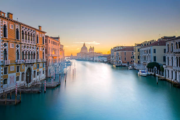 View from Accademia Bridge on Grand Canal in Venice Venice Canale Grande canal stock pictures, royalty-free photos & images