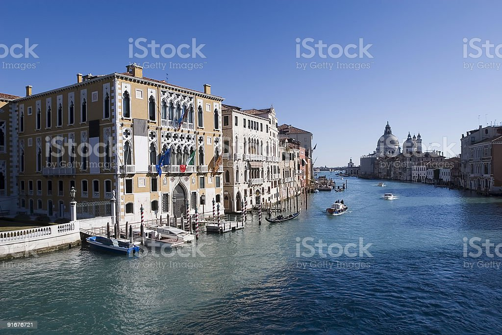 View from Accademia Bridge over the Grand Canal, Venice stock photo