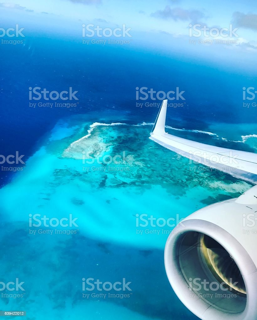 View from airplane landing on Turks and Caicos Islands stock photo