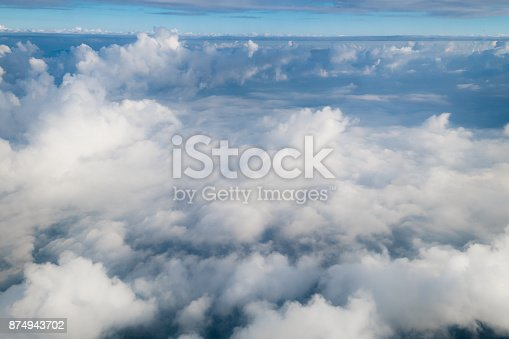 istock View from airplane window above the clouds with blue sky and cloudscape in sunlight morining. white wispy cirrus and cirrostratus clouds 874943702