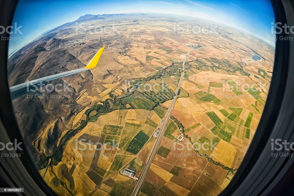 View from airplane window on  the city of Kayseri stock photo