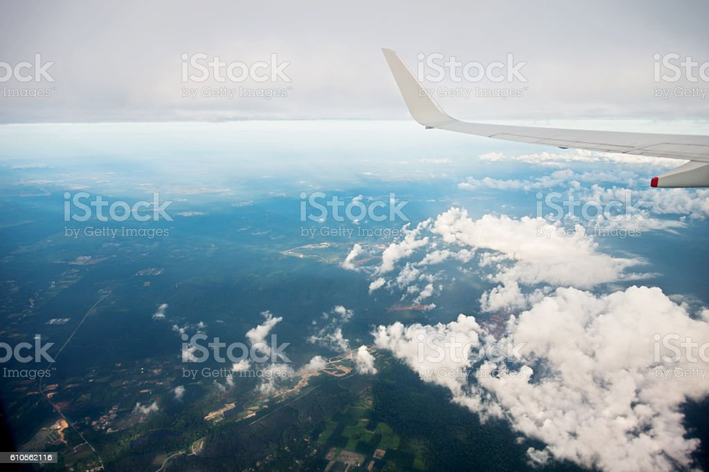View from airplane window stock photo