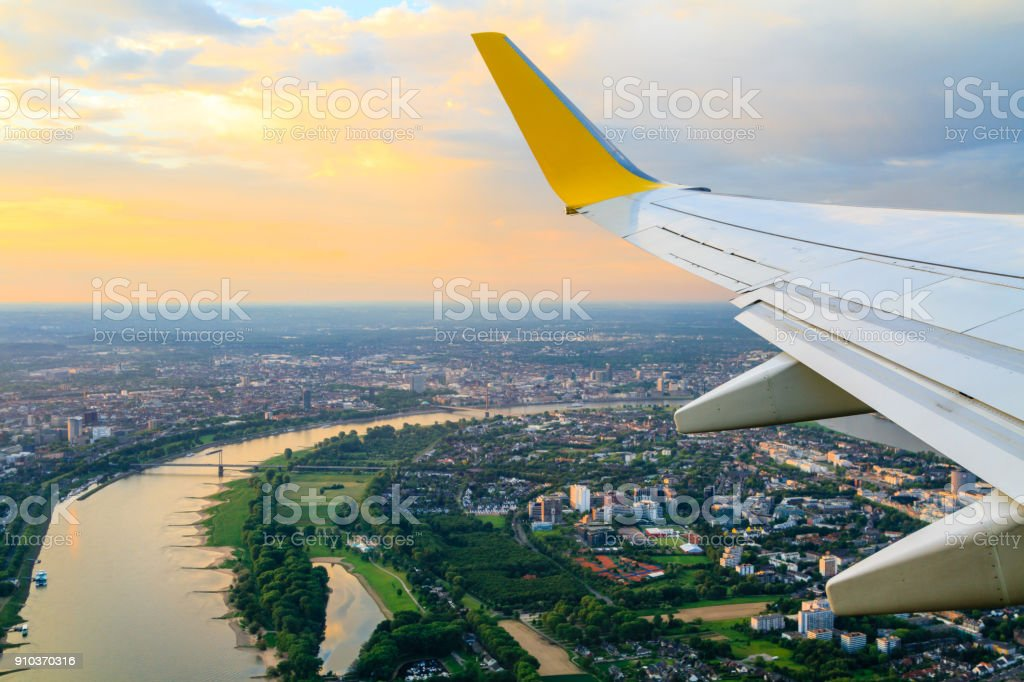 View from airplane window to Dusseldorf - Royalty-free Air Vehicle Stock Photo