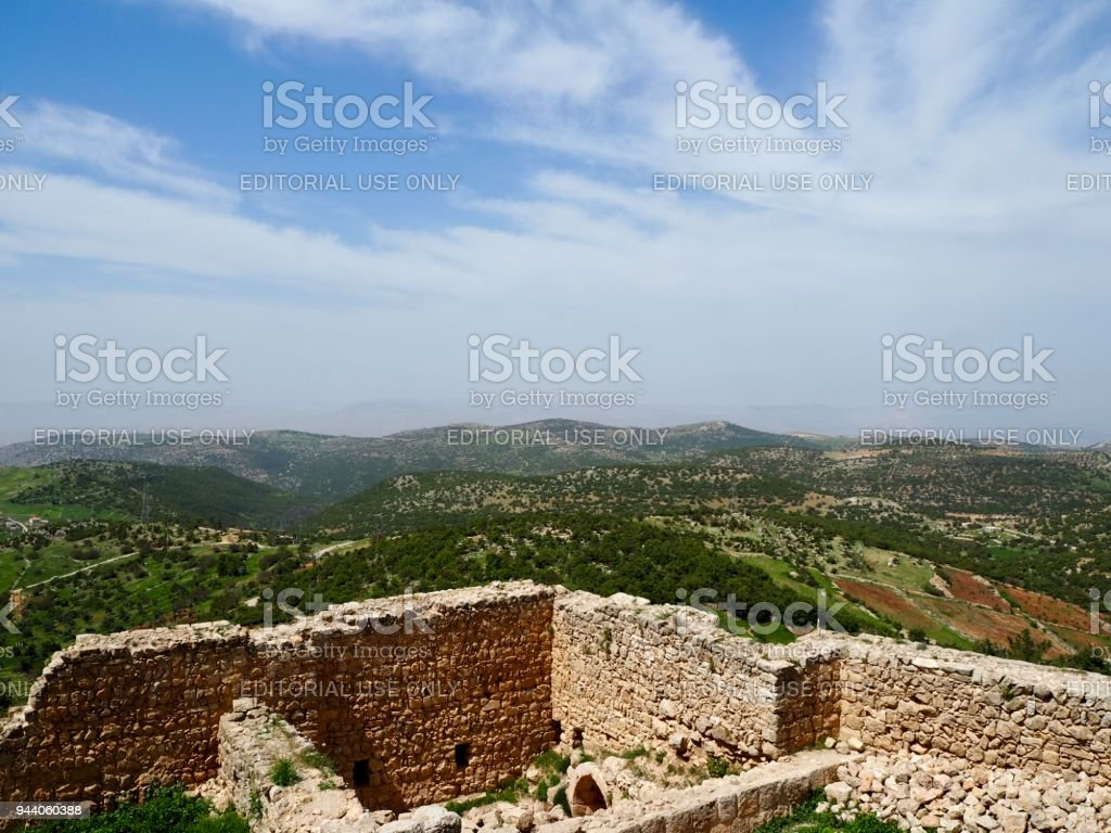 View from Ajloun castle stock photo