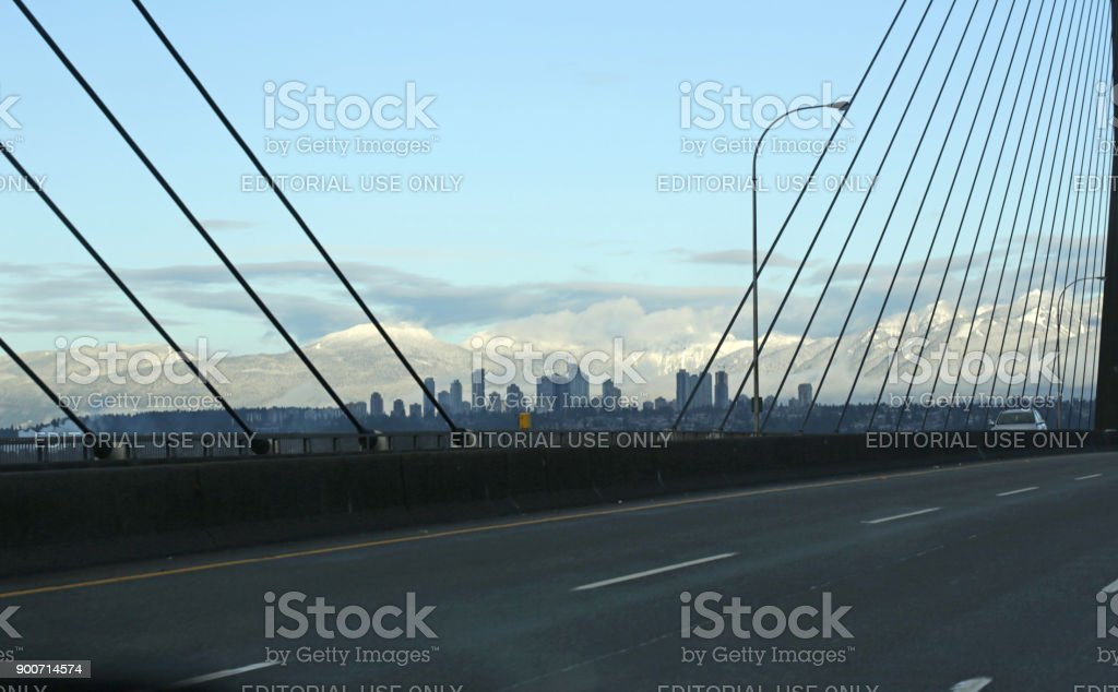 View from Alex Fraser Bridge and Annacis Highway in Canada, in Winter stock photo