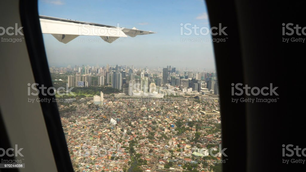 View from an airplane window.Manila, Philippines stock photo