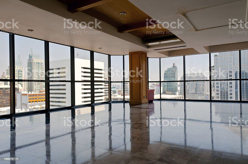 A View Of Bangkok In Thailand From A Corner Office Window