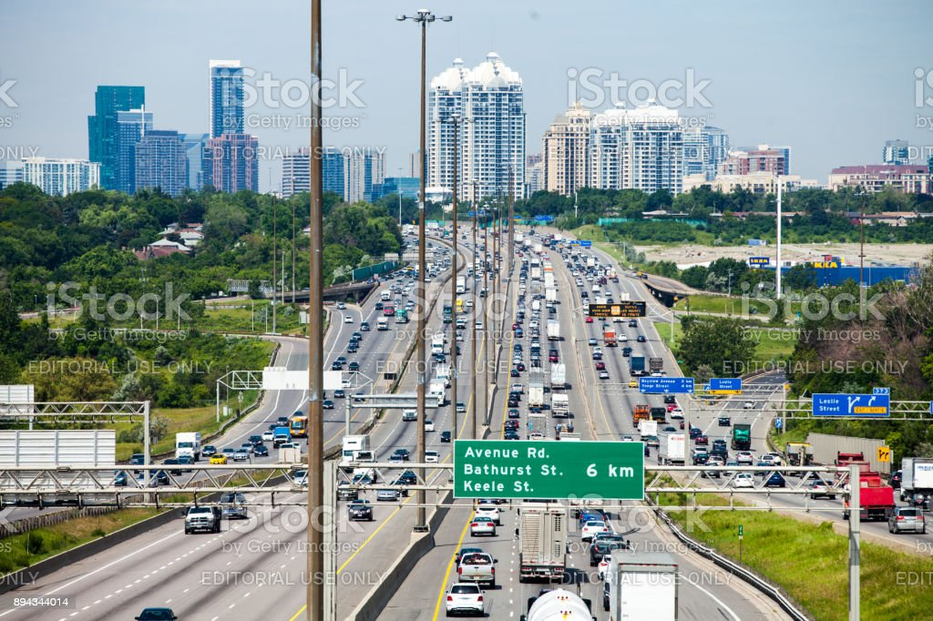 View from an overpass of the 401 Highway with Toronto city in Background. stock photo