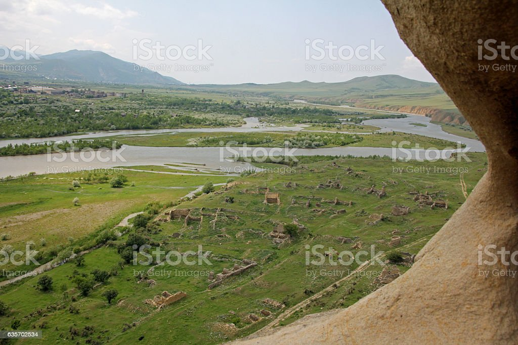 View from ancient cave city of Uplistsikhe royalty-free stock photo