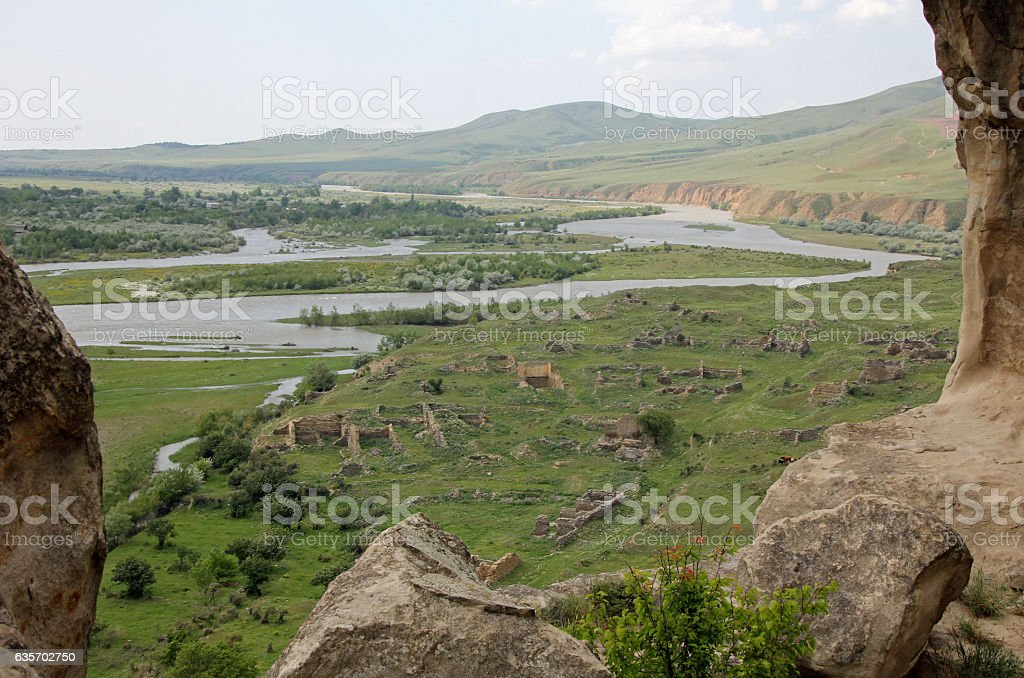 View from ancient cave town of Uplistsikhe royalty-free stock photo