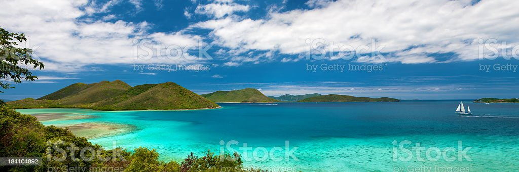 view from Annaberg into Leinster Bay, St. John, USVI royalty-free stock photo