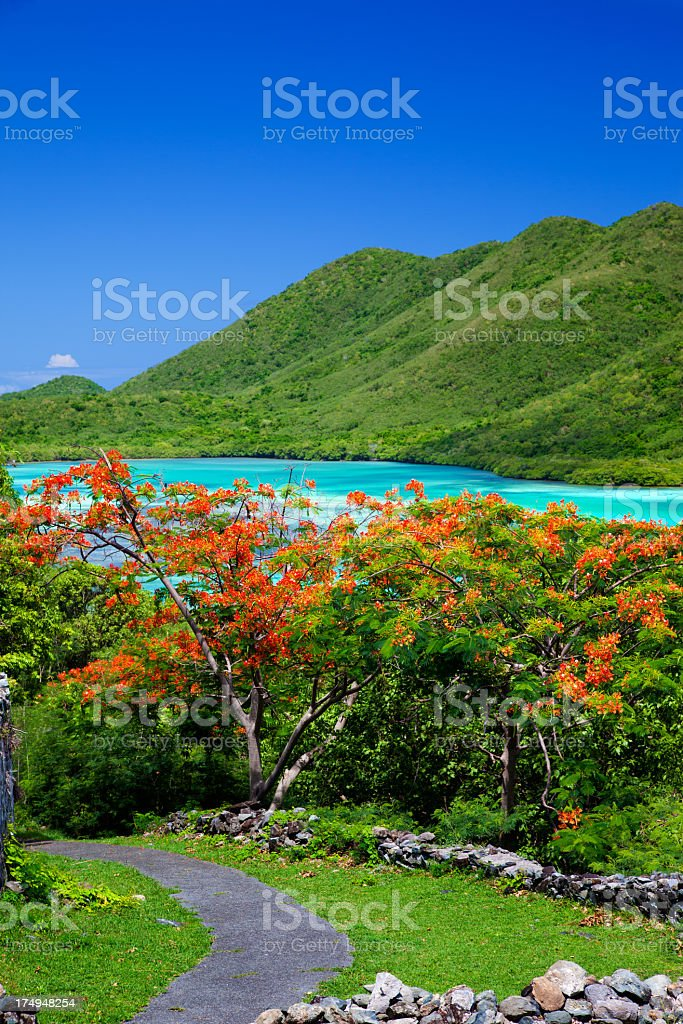 view from Annaberg Ruins into Leinster Bay, St.John, USVI royalty-free stock photo