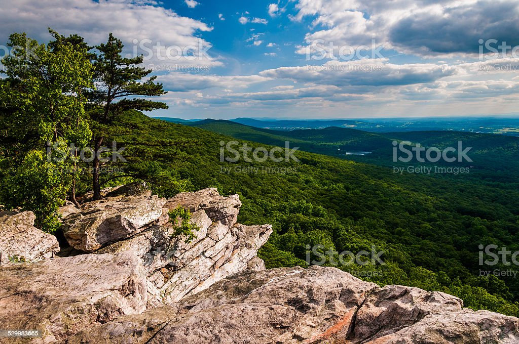 View from Annapolis Rocks, along the Appalachian Train on South stock photo