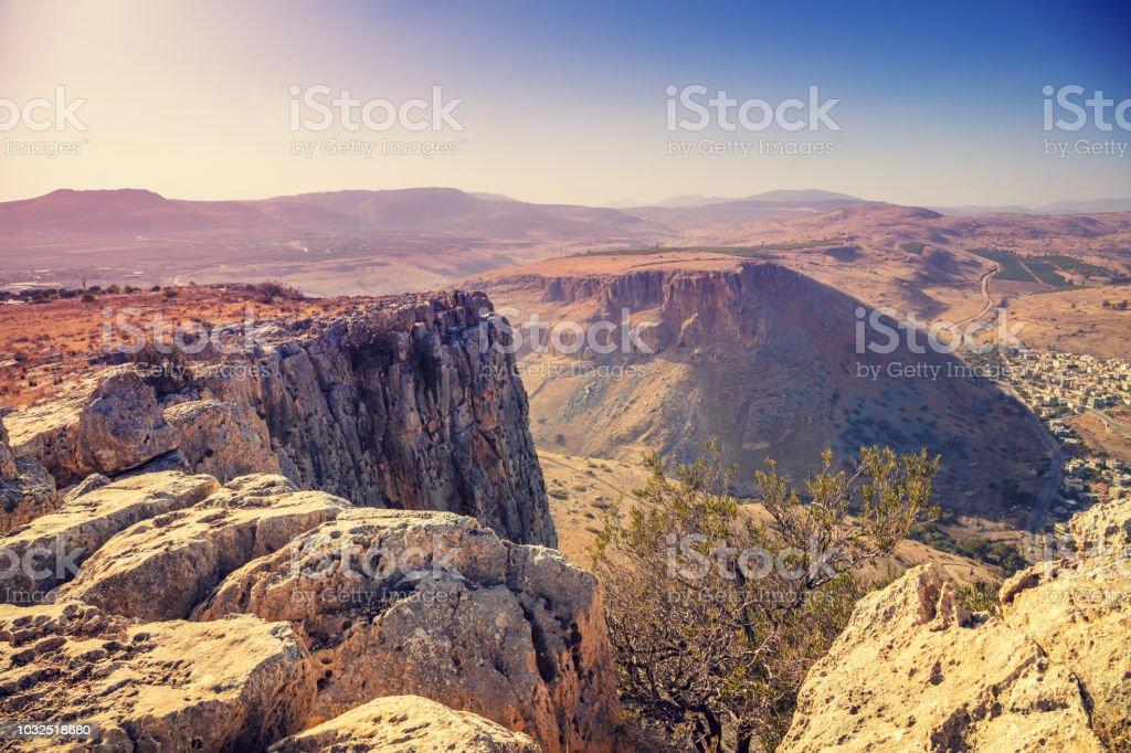 Blick vom Arbel Cliff. Galiläa, Israel – Foto