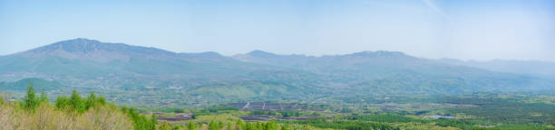 view from asama highland - satoyama scenery stock photos and pictures