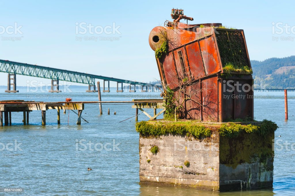 View from Astoria Oregon's waterfront stock photo