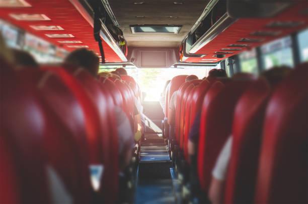 blick vom rücksitz in einem bus. menschen in einem bus sitzen. öffentliche verkehrsmittel-konzept mit sommer-flair. - tour bus stock-fotos und bilder