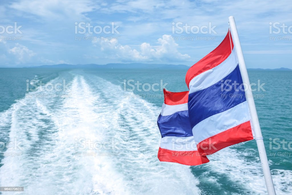 View from back side of the ship when traveling to the island in Thailand - Royalty-free Above Stock Photo