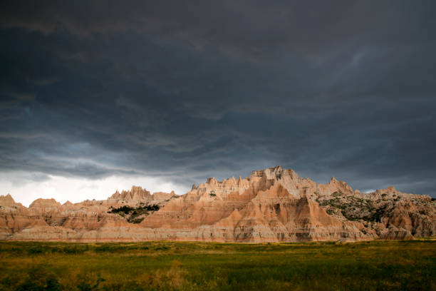 View from Badlands National Park in South Dakota stock photo
