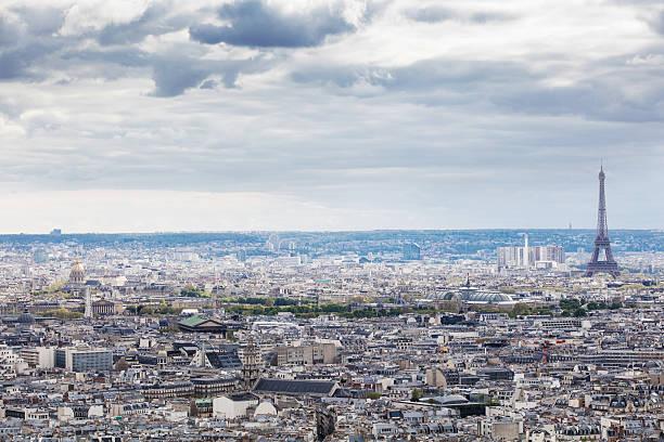 view from basilique du sacre coeur on paris, france - montmatre utsikt bildbanksfoton och bilder