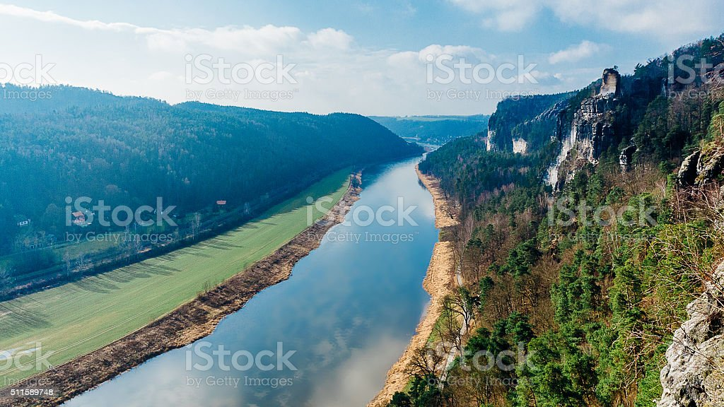View from Bastei on river Elbe stock photo