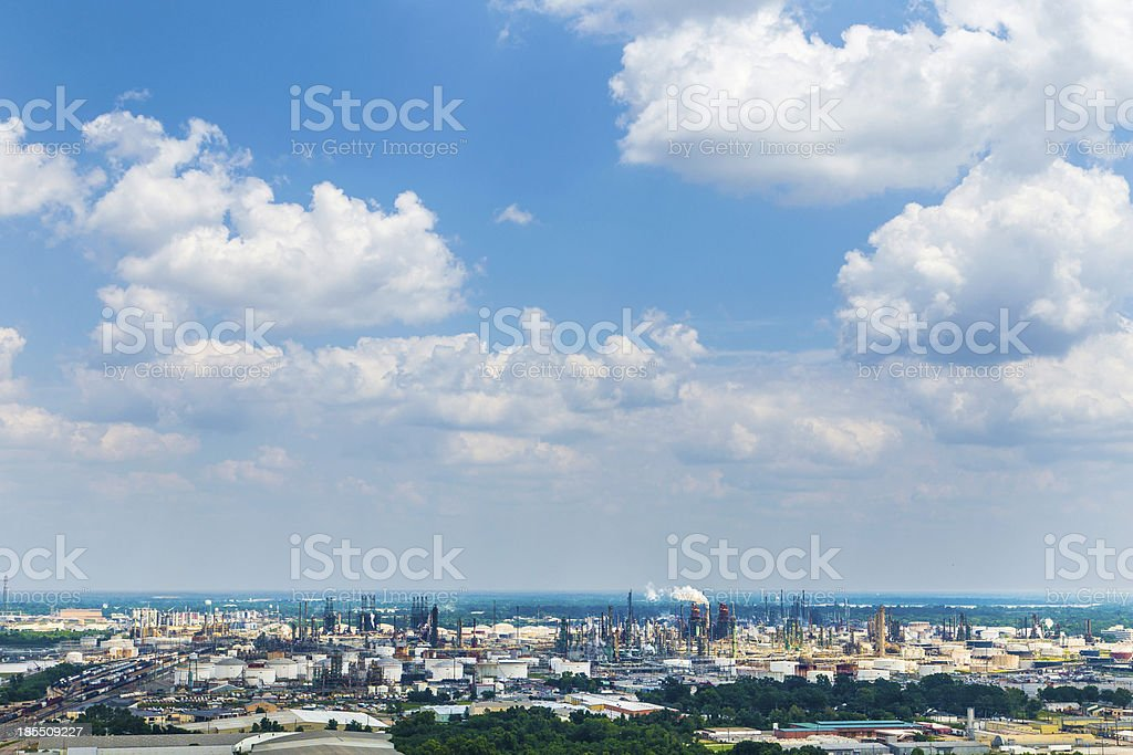view from Baton Rouge to the oil refineries stock photo