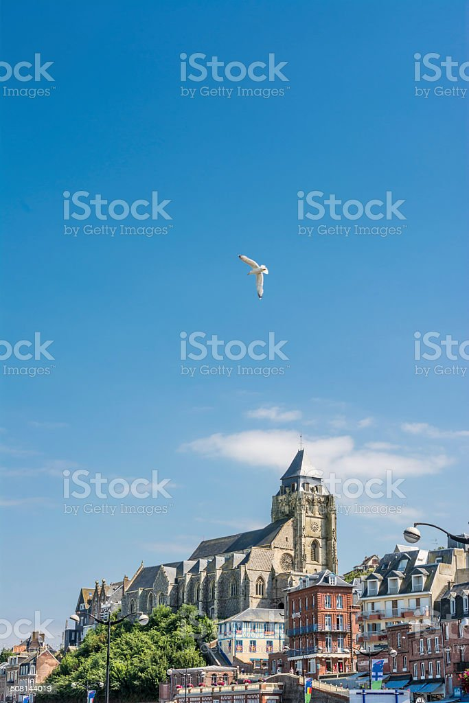 View from beach on le Treport stock photo