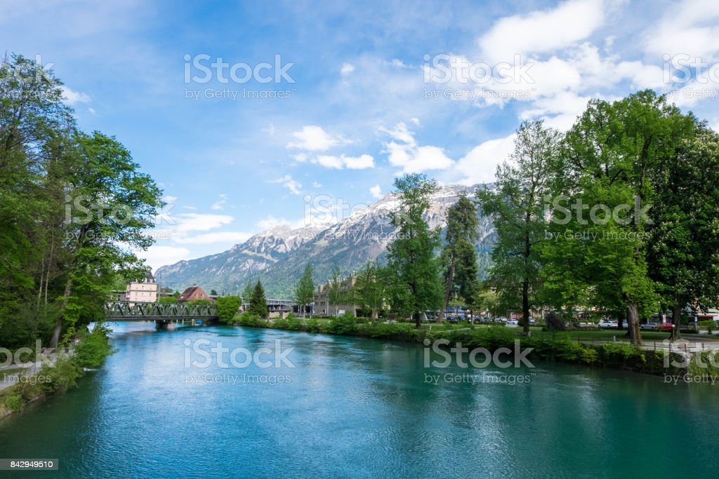 View from Beaurivage Brucke, link between Interlaken Ost to Harderbahn stock photo