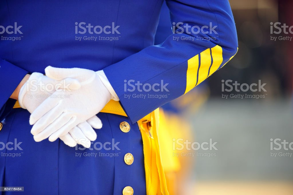 A view from behind the Military Academy cadet. stock photo