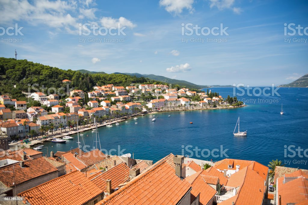 View from bell tower of Sveti Marko cathedral, Korcula Old Town, Croatia stock photo
