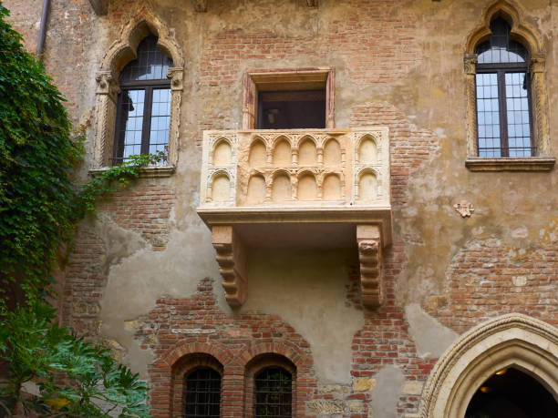 View from below of Juliet's Balcony, Verona, Italy stock photo