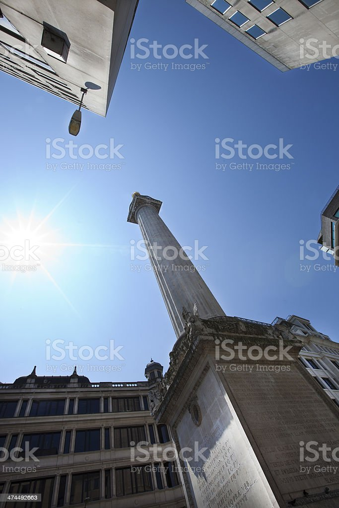 View from below of Monument, London, UK royalty-free stock photo