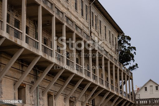 San Francisco, United States - May, 15 2016: View from below of the exterior of Alcatraz Prison