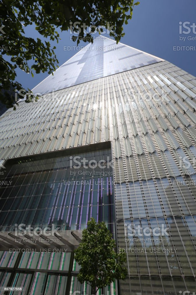 View from below on World Trade Center. America, New York City - May 11, 2017 stock photo