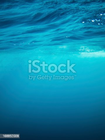 Underwater shot of surface of the sea seen from underneath.
