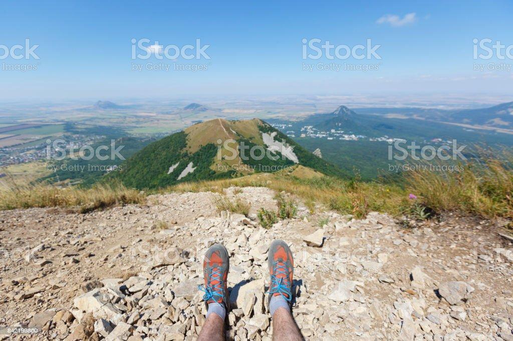 A view from Beshtau mountain. Hiking in Caucasus. Pyatigorsk. Stavropol region of Russia stock photo