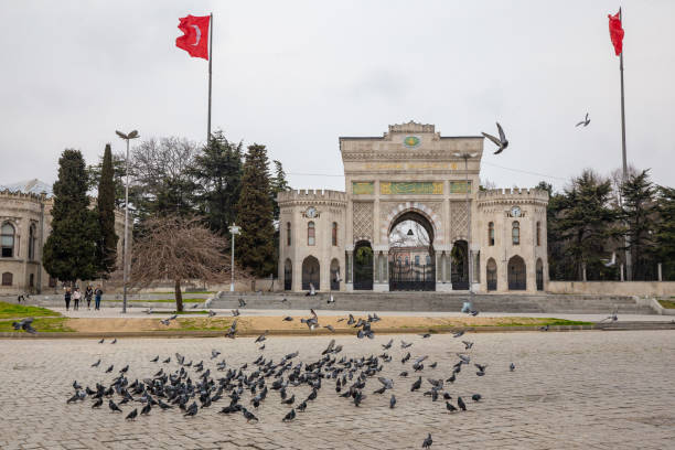 View from Beyazit Square.The number of people in the squares and streets has decreased. stock photo