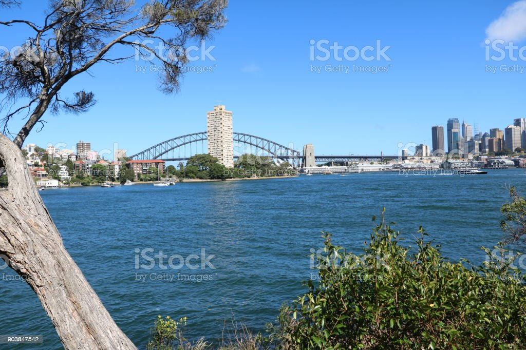 View from Blues Point Reserve to Sydney city, New South Wales Australia stock photo