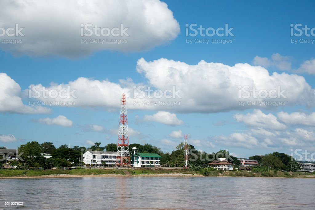 View from boat on Khong river . photo libre de droits