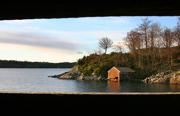 View from boathouse to another boathouse. stock photo