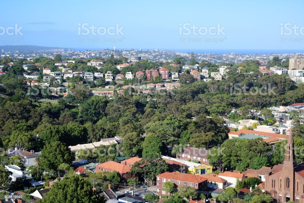 View from Bondi Junction in Sydney, New South Wales Australia stock photo